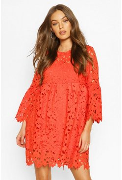 Orange Heavy Lace Flare Sleeve Smock Dress