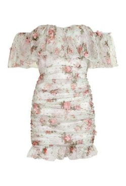 Mint Floral Chiffon Bardot Mini Dress