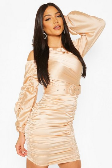Champagne Bow Detail Rouched Belted Mini Dress