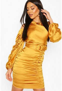 Mustard Bow Detail Rouched Belted Mini Dress