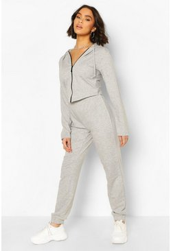Grey marl grey Fitted Zip Through Tracksuit