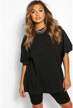 Black NYC Embroidered Slogan Oversized T-Shirt
