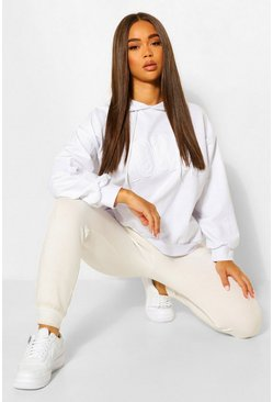 White Iowa Slogan Oversized Hoodie