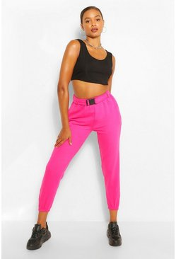 Hot pink pink Neon Buckle Oversized Jogger