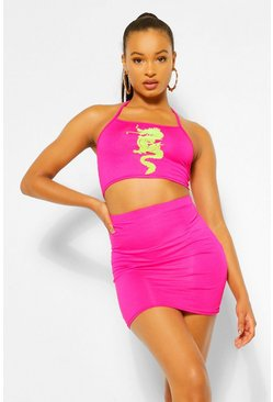 Hot pink pink Neon Dragon Flock Crop Top