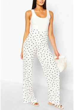 Ivory white Polka Dot Crepe Wide Leg Trousers
