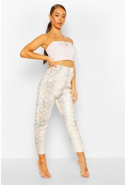 Ivory white Leather Look Faux Snake Slim Fit Trouser