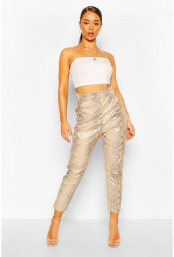 Stone beige Faux Leather Faux Snake Slim Fit Pants