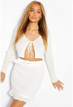 White Eyelet Belted Mini Ruffle Hem Mini Skirt