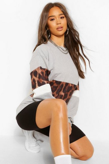 Grey Leopard Print Sweat Top & Short Co-ord Set