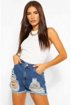 Mid blue blue High Rise Denim Shorts