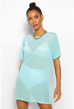 Aqua blue Mesh T Shirt Dress