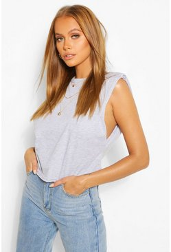 Grey marl grey Shoulder Pad Tank Top