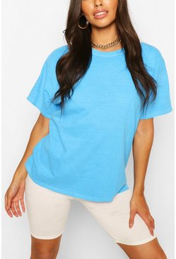 Aqua blue Washed Oversized T-Shirt