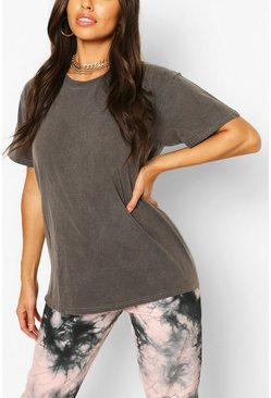 Charcoal grey Washed Oversized T-Shirt