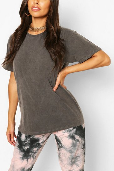 Charcoal grey Grey Washed Oversized T-Shirt