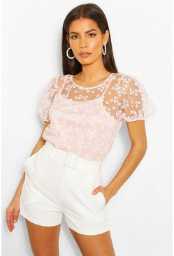 Pink Floral Mesh Puff Sleeve Cami Top