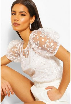 White Floral Mesh Puff Sleeve Cami Top