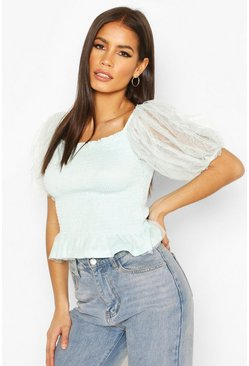 Mint green Mesh Sleeve Shirred Top