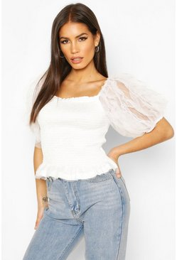 White Mesh Sleeve Shirred Top