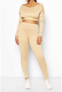 Stone beige V Neck Sweat & Legging Set