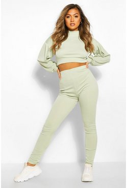 Sage green High Neck Balloon Sleeve Tracksuit Set