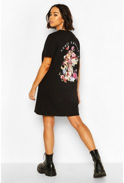 Black Cherub Slogan Back Print T-Shirt Dress