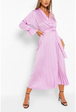 Lilac purple Satin Pleated Midaxi Dress