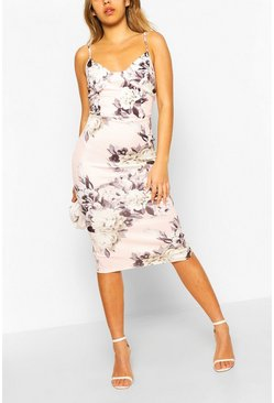 Pink Corset Floral Print Bodycon Midi Dress