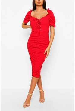 Red Laced Up Ruched Puff Sleeve Midi Dress