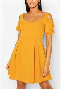 Mustard yellow Cold Shoulder Cup Detail Skater Dress