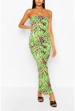 Brown Leopard Tropical Bandeau Maxi Dress