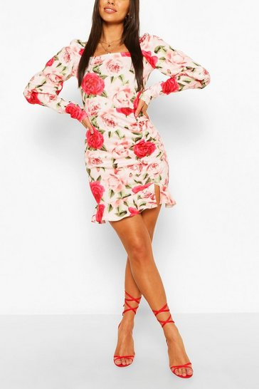 Pink Floral Ruffle Rouched Puff Sleeve Mini Dress