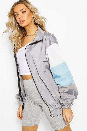 Grey Oversized Colour Block Arm Shell Zip Through Jacket