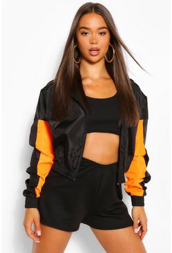 Black Hooded Panelled Crop Windbreaker