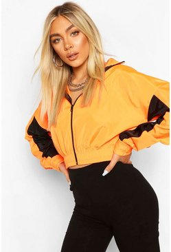 Oranje orange Capri Windbreaker met capuchon