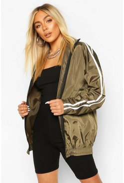 Khaki Side Stripe Windbreaker