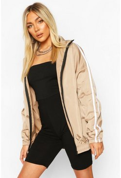 Mocha beige Side Stripe Windbreaker