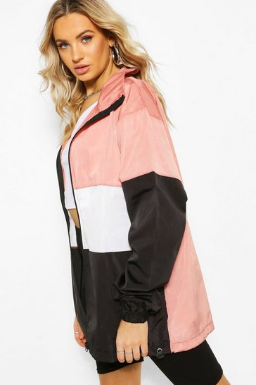 Rose pink Oversized Panelled Windbreaker