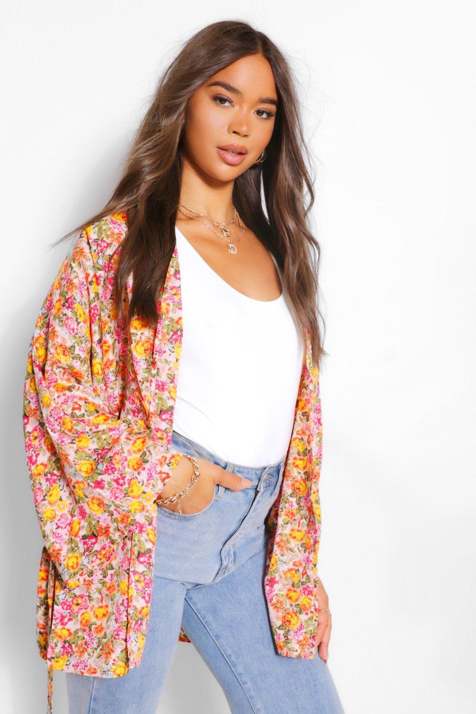 COATS & JACKETS Floral Tie Waist Kimono