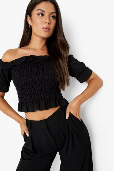 Black Woven Shirred Puff Sleeve Top