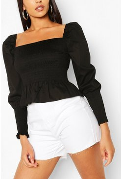 Black Woven Shirred Square Neck Top