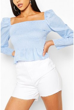 Sky blue Woven Shirred Square Neck Top
