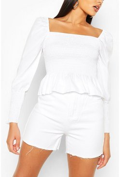 White Woven Shirred Square Neck Top