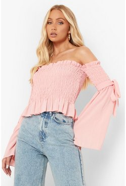 Blush pink Woven Shirred Flared Sleeve Off The Shoulder Top