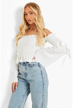 Ivory white Woven Shirred Flared Sleeve Off The Shoulder Top