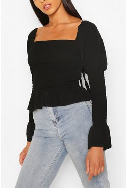 Black Woven Shirred Long Sleeve Top