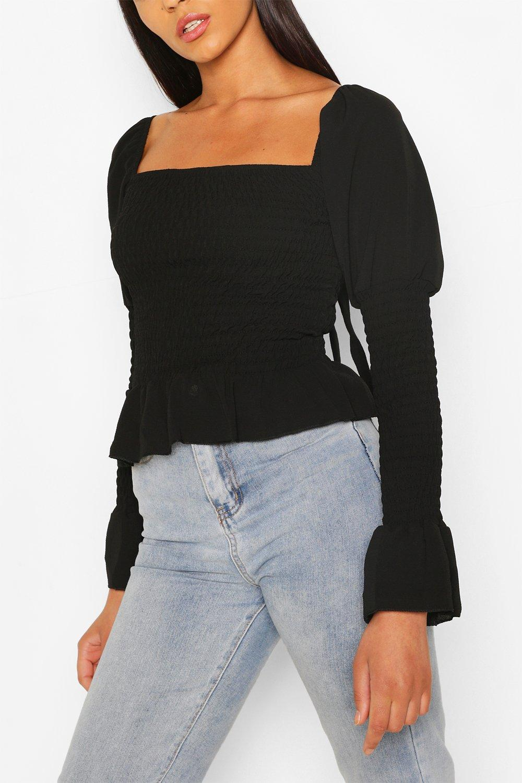 Womens Sale Black Woven Shirred Long Sleeve Top