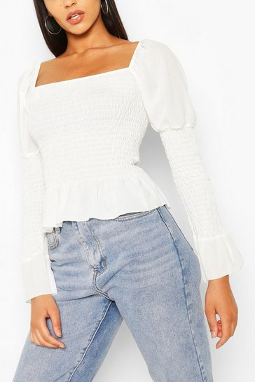 Ivory white White Woven Shirred Long Sleeve Top