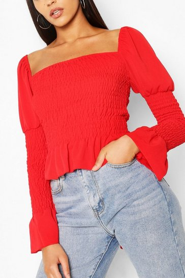 Red Woven Shirred Long Sleeve Top